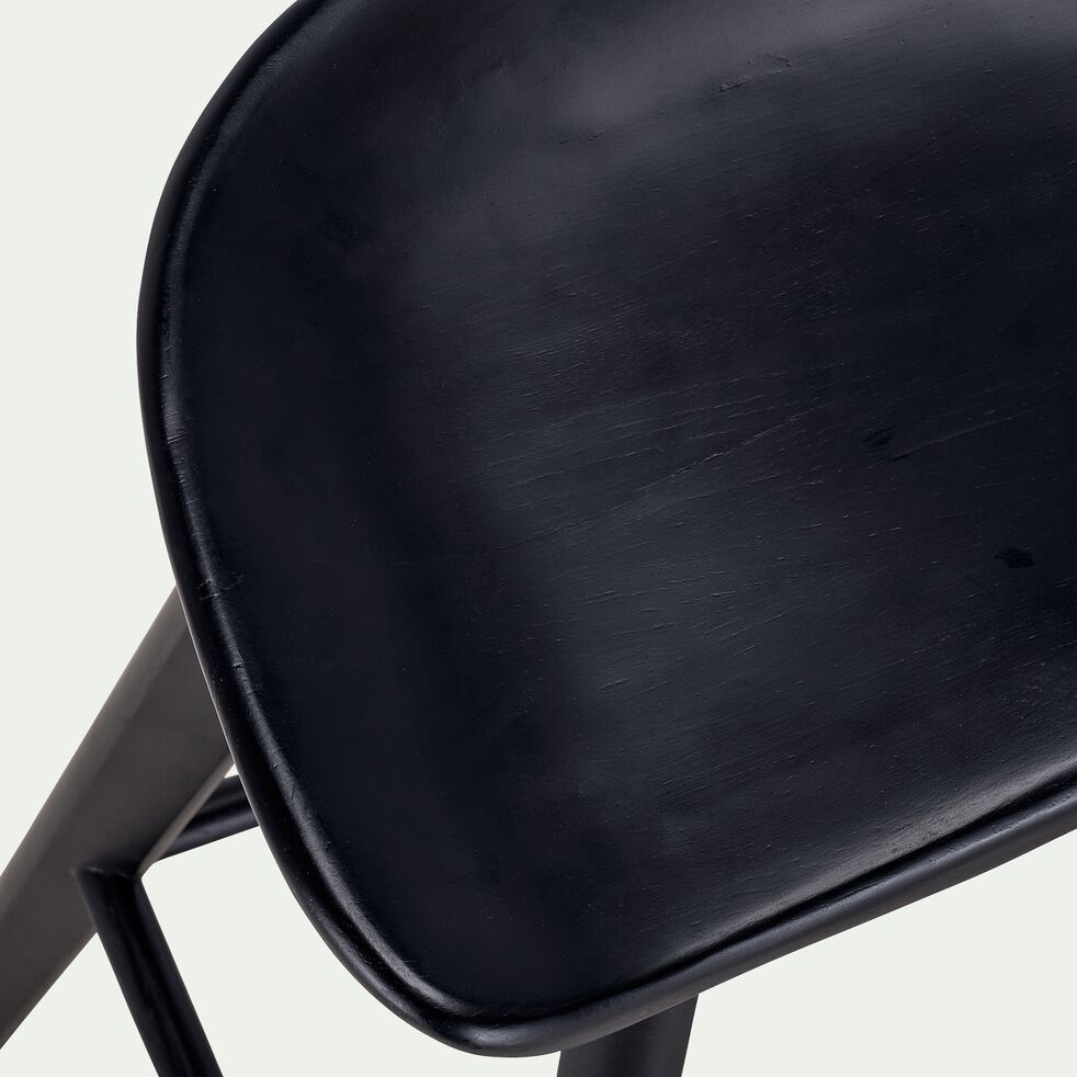 Tabouret en chêne massif - H66cm noir-KOA