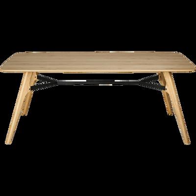 Table de repas rectangulaire bois et acier - 6 à 12 places-FANETTE