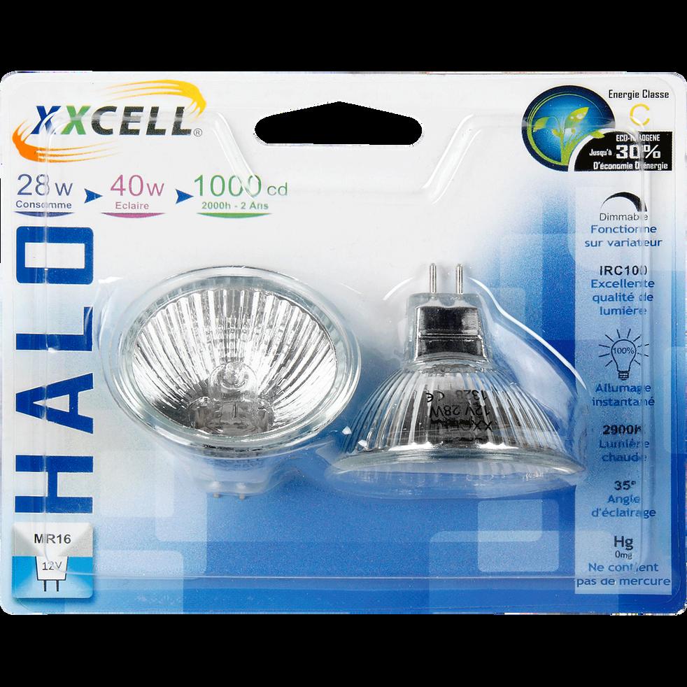 2 ampoules réflecteur éco-halo blanc chaud culot GU5.3-AMP REFLECT