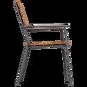 Chaise de jardin empilable en métal et eucalyptus-RAMATUELLE
