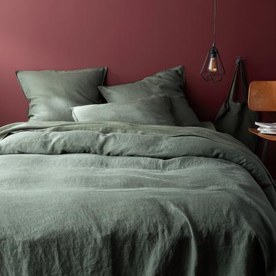 Linge de lit en lin vert cèdre-VENCE