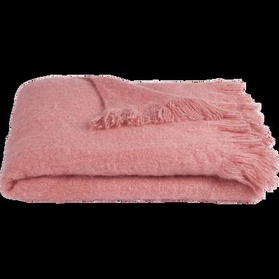 Plaid effet mohair rose 130x170cm-VALENTINE