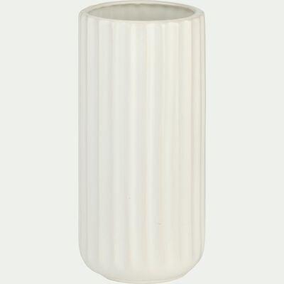 Vase strié en grès - blanc H20cm-Agia