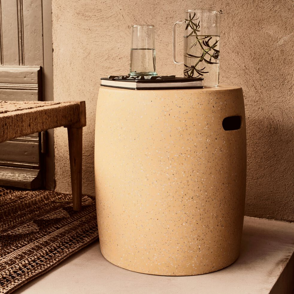 Tabouret de jardin en ciment - jaune argan-Amalia