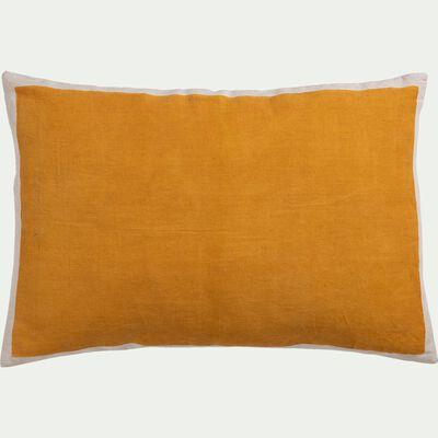 Coussin sérigraphié en lin et coton - jaune 40x60cm-OTA