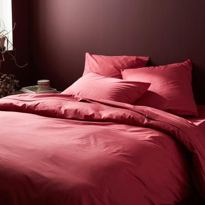 Linge de lit en coton rouge arbouse-CALANQUES