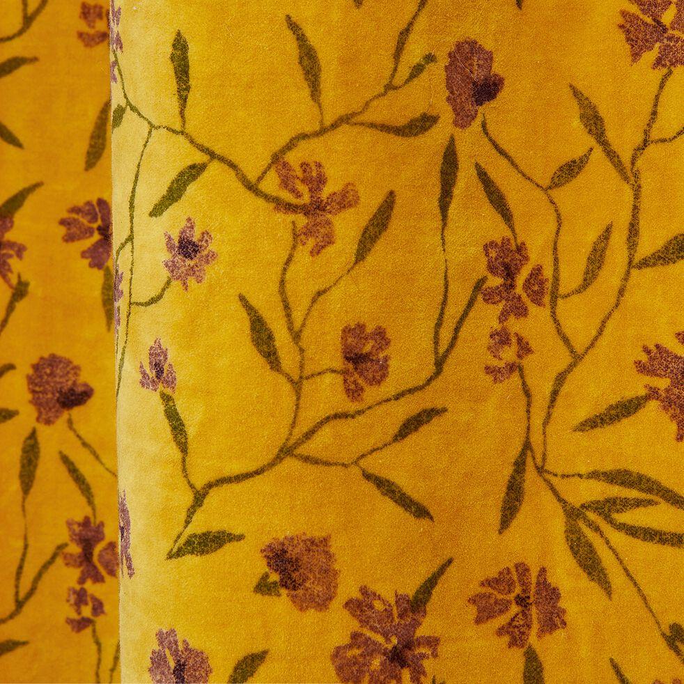 Rideau en coton effet velours jaune 135x250cm-DANGWA