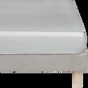 Drap housse en satin Gris borie rayé - 160x200 cm-SANTIS