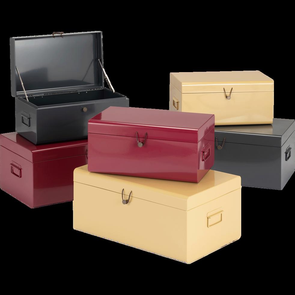 malle en acier grise l44xl27xh21cm alsa bo tes de. Black Bedroom Furniture Sets. Home Design Ideas