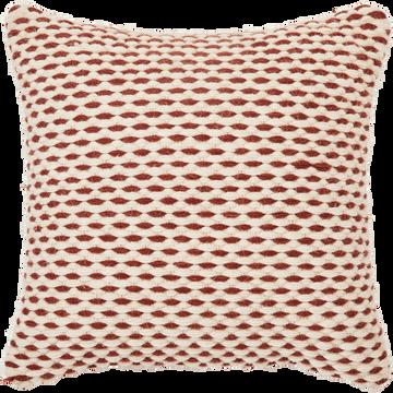 Coussin en coton et laine beige et orange 40x40 cm-ELLA