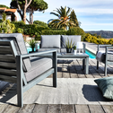 Table basse de jardin en aluminium gris-CAGLIARI