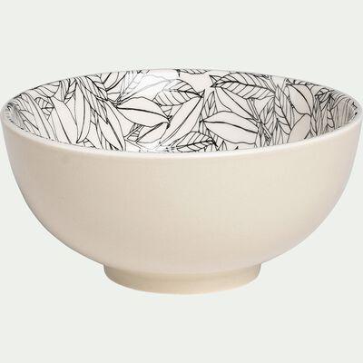 Bol en porcelaine - beige roucas motif laurier D15cm-AIX