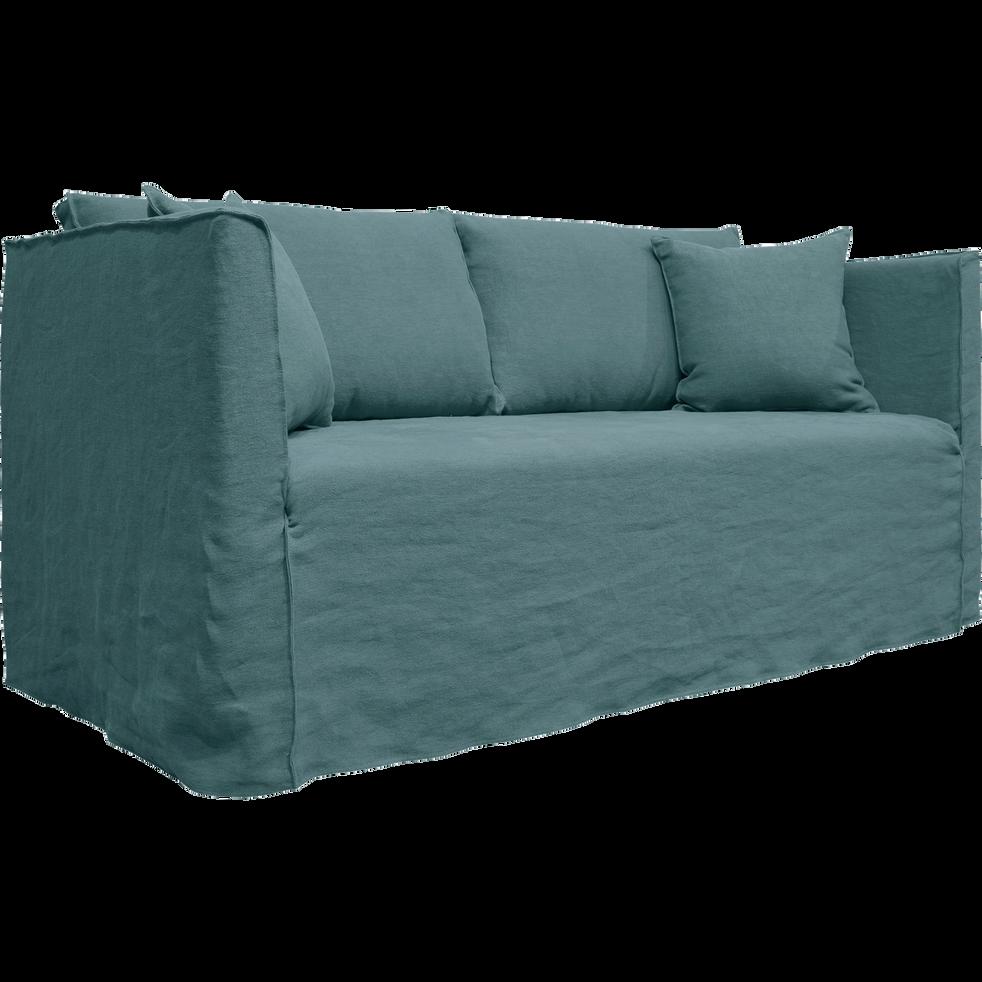 Canapé 3 places fixe en lin bleu calaluna-VENCE