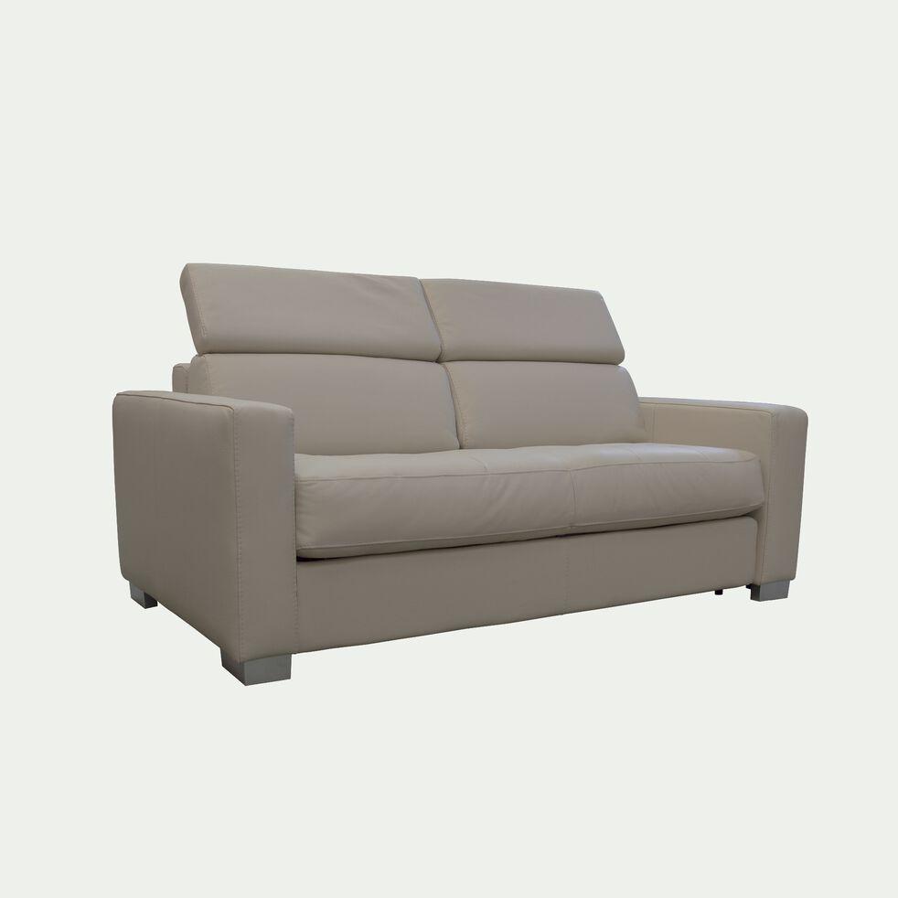 Canapé 2 places convertible en cuir avec accoudoir 15cm - beige-MAURO