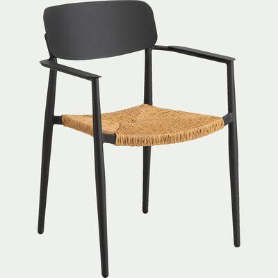 Chaise de jardin empilable en aluminium et rotin avec accoudoirs - noir-INCA