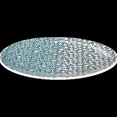 Assiette plate en grès bleu D28cm-ZELLIGES