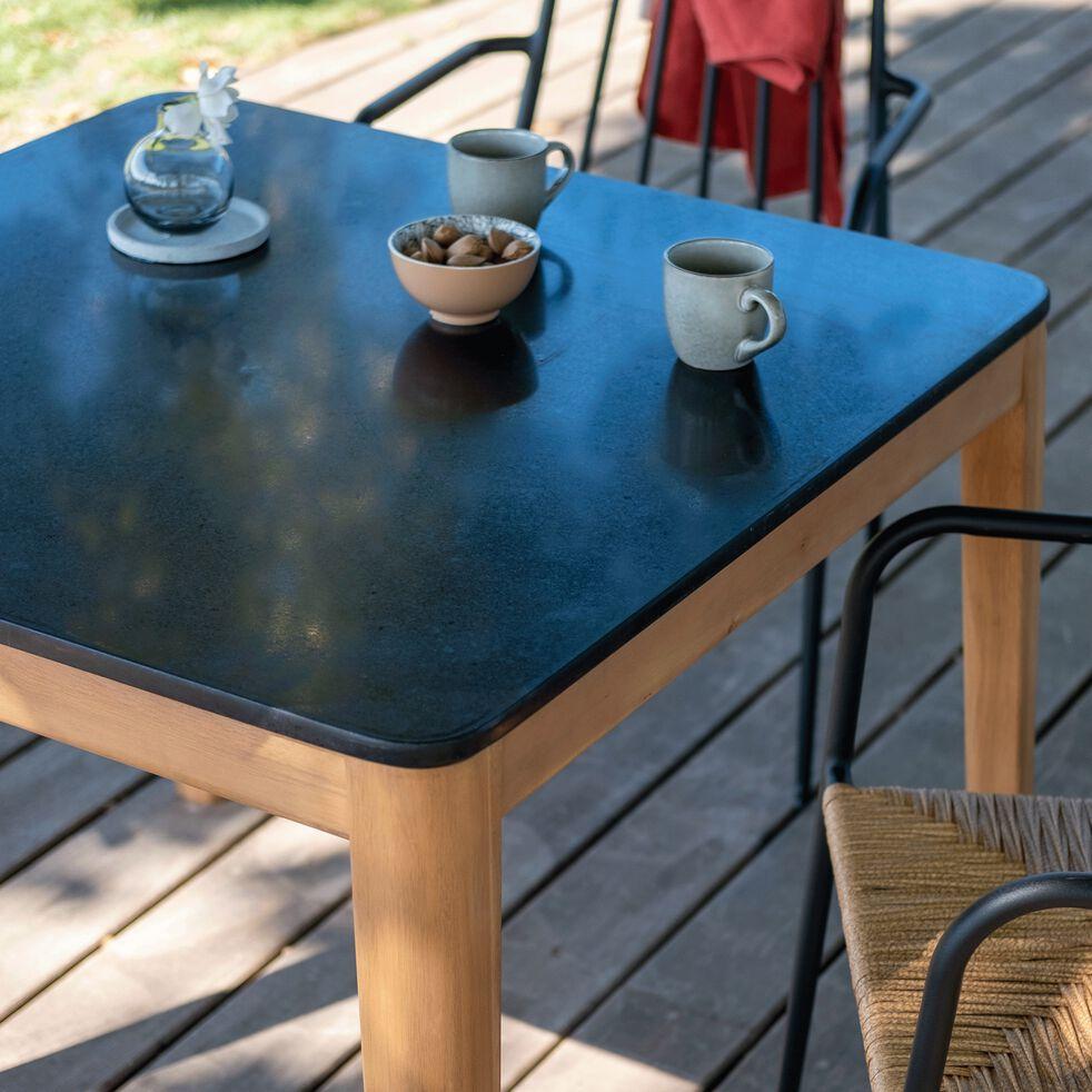 Table carrée en granit reconstitué - noir L90xl90-ESTILA