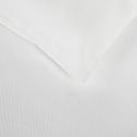 Housse de couette en satin Blanc capelan rayé - 240x220 cm-SANTIS