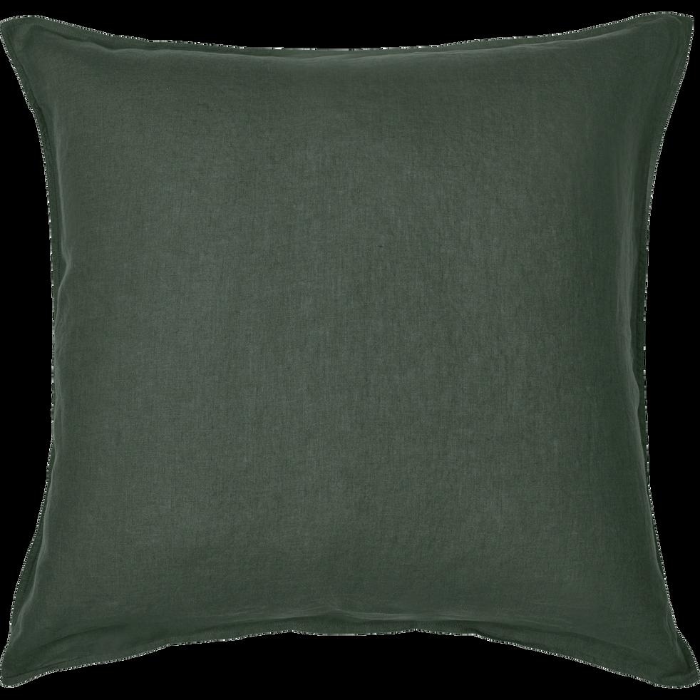Lot de 2 taies d'oreiller en lin Vert cèdre 65x65cm-VENCE