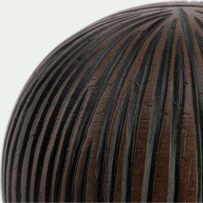 Boule déco en résine marron D8cm-SAMAYA