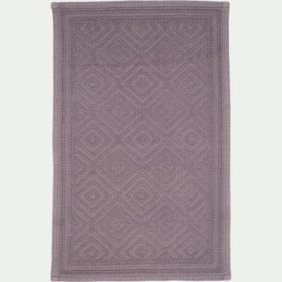Tapis de bain surpiquage losanges en coton - gris restanque 50x70cm-SADOU