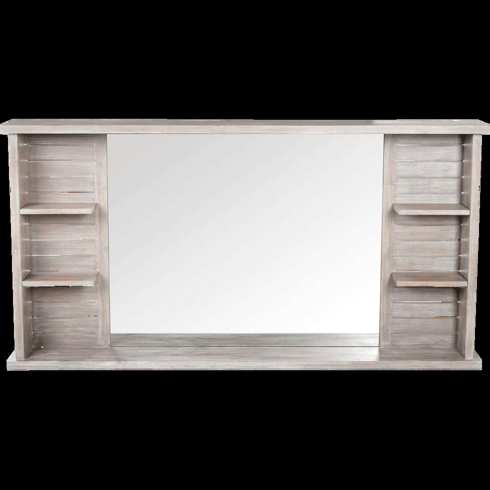 Marine - Miroir rectangulaire de salle de bains avec tablettes en épicéa  140cm