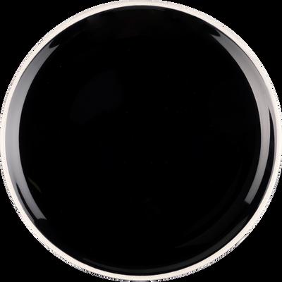 Assiette à dessert en faïence noire D20cm-CAMELIA