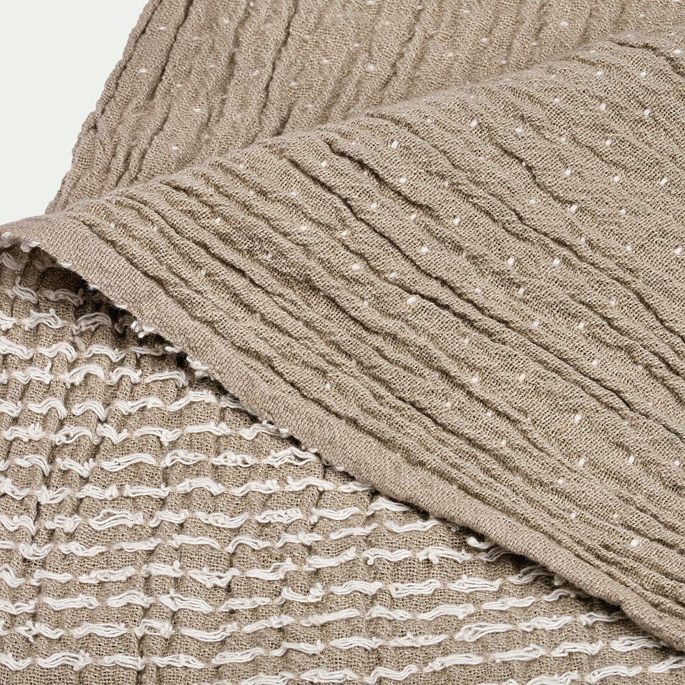 Plaid froissé à surpiqûres en coton - gris 130x170cm-LITANI