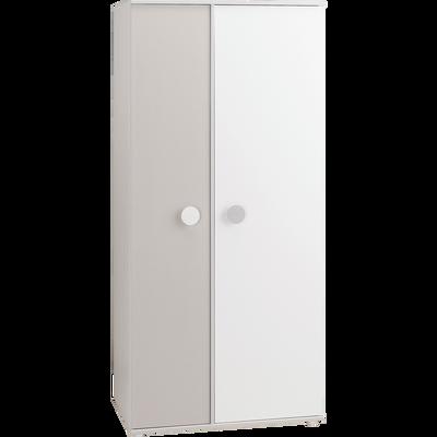 Armoire enfant blanche et grise 2 portes battantes-CAMILLE