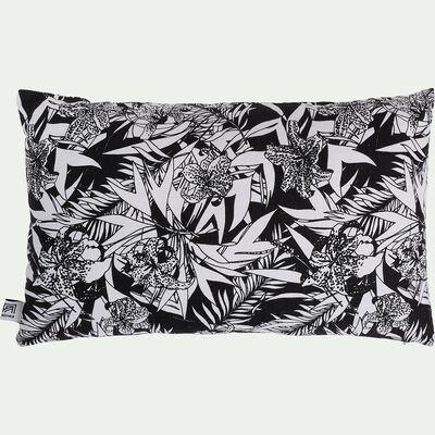 Coussin motif Orchidée en lin et coton - noir et blanc 30x50cm-ORCHIDEE