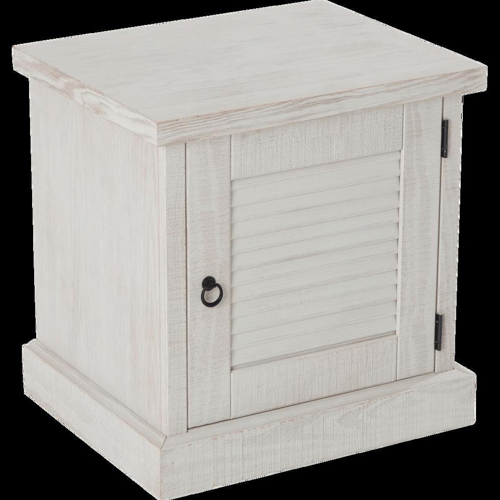 table de chevet en pin finition bross e et blanchie 1 porte jalousie tables de chevet alinea. Black Bedroom Furniture Sets. Home Design Ideas
