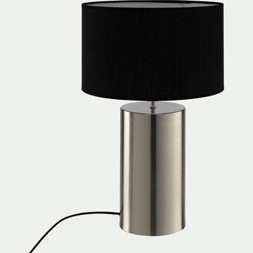 Lampe en acier argenté - noir H36cm-AGATHA