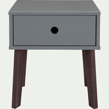 Table de chevet en bois plaqué - gris restanque-SACHA