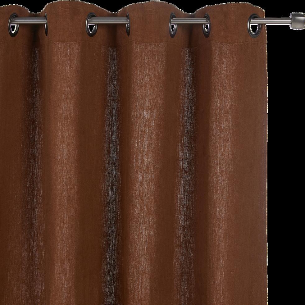 rideau oeillets en lin lav brun albe 140x280cm vence. Black Bedroom Furniture Sets. Home Design Ideas