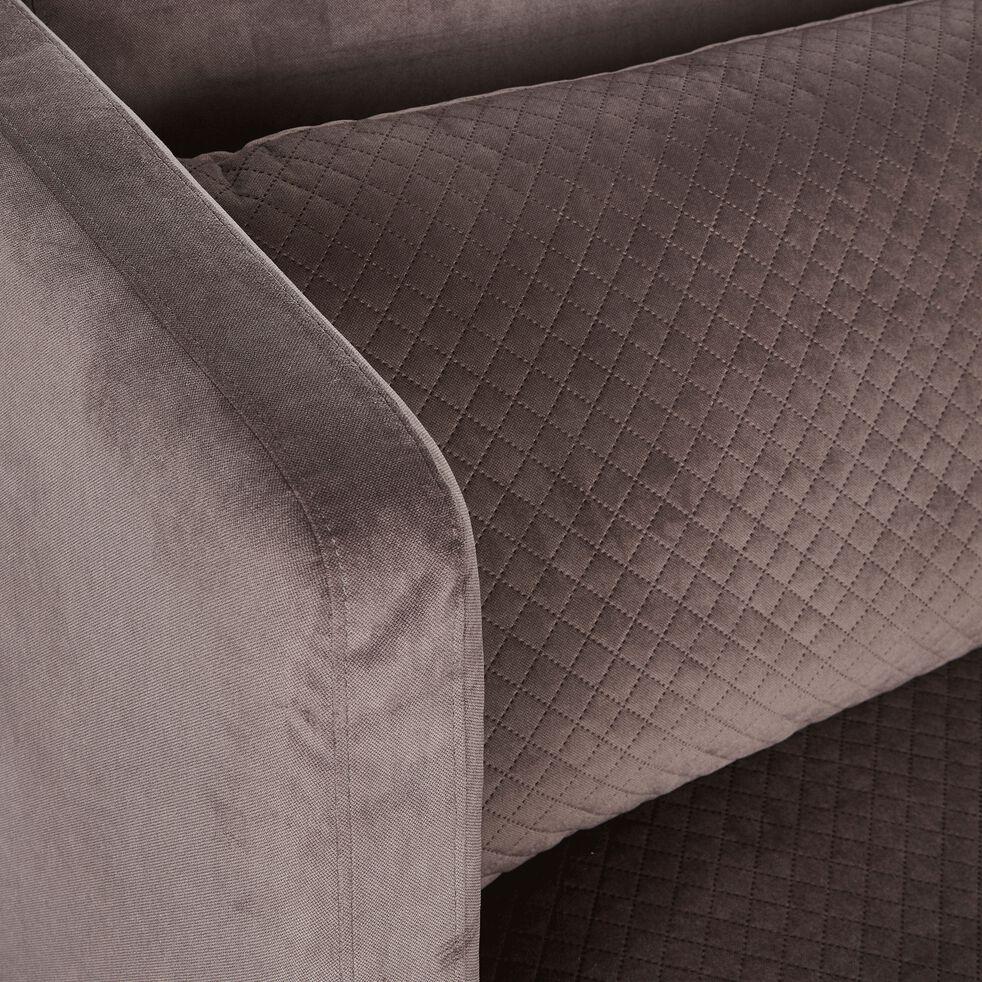 Canapé 3 places fixe surpiqué en velours gris restanque-MELVE