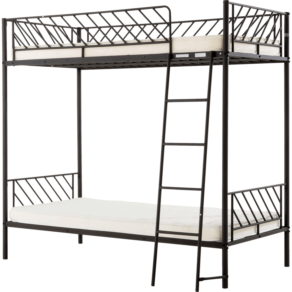 lits superpos s 1 place en m tal noir slash 90x190 cm lits superpos s alinea. Black Bedroom Furniture Sets. Home Design Ideas