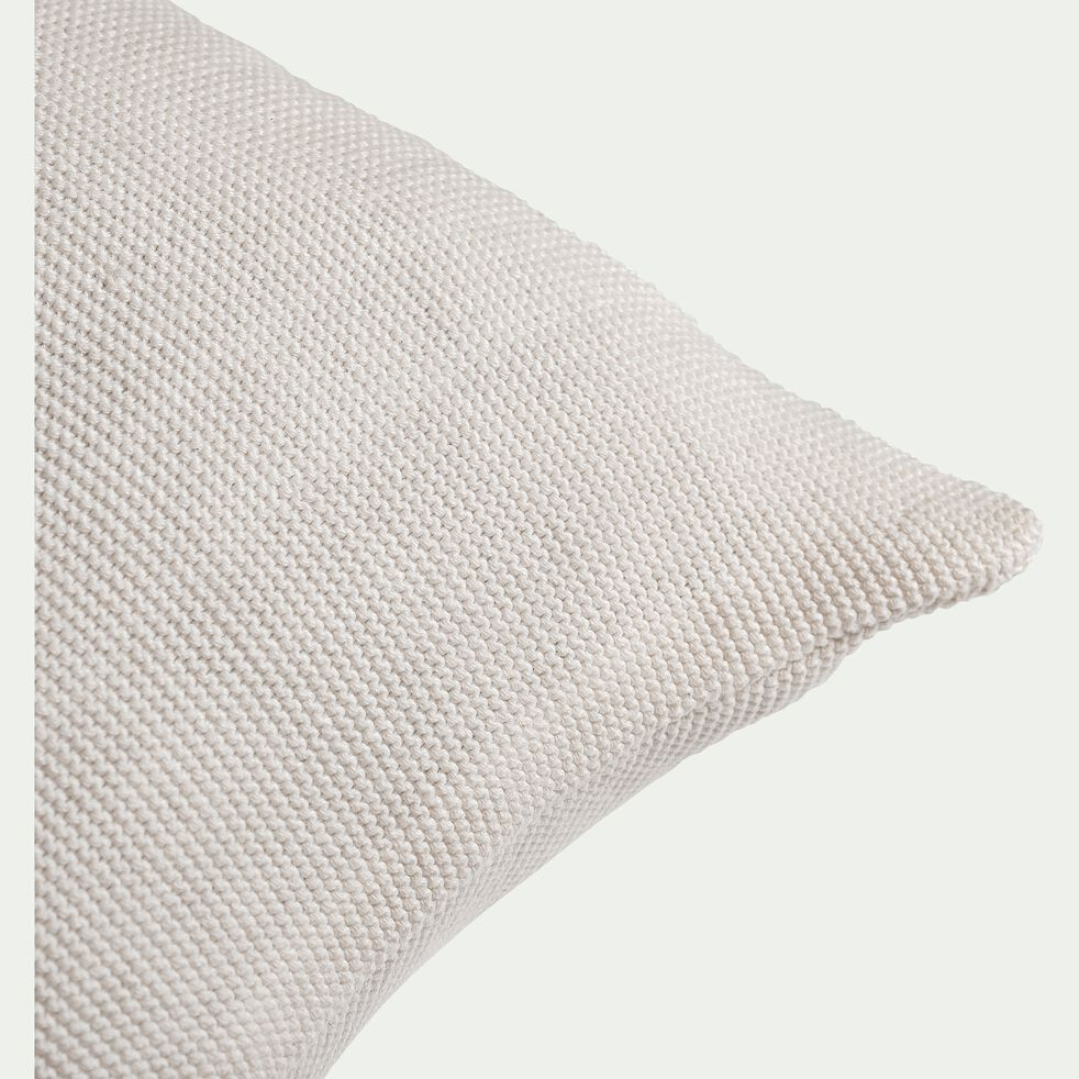 Coussin tricoté point mousse en coton - blanc ventoux 30x50cm-PUNTO