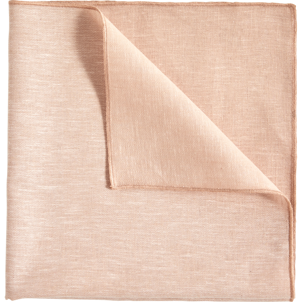 Lot de 2 serviettes de table en lin et coton rose grège 41x41cm-NOLA