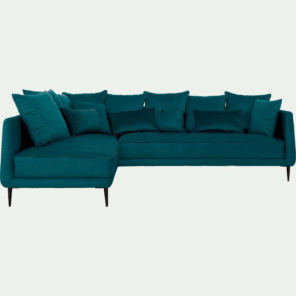 Canapé d'angle fixe gauche en tissu - bleu niolon-ASTELLO