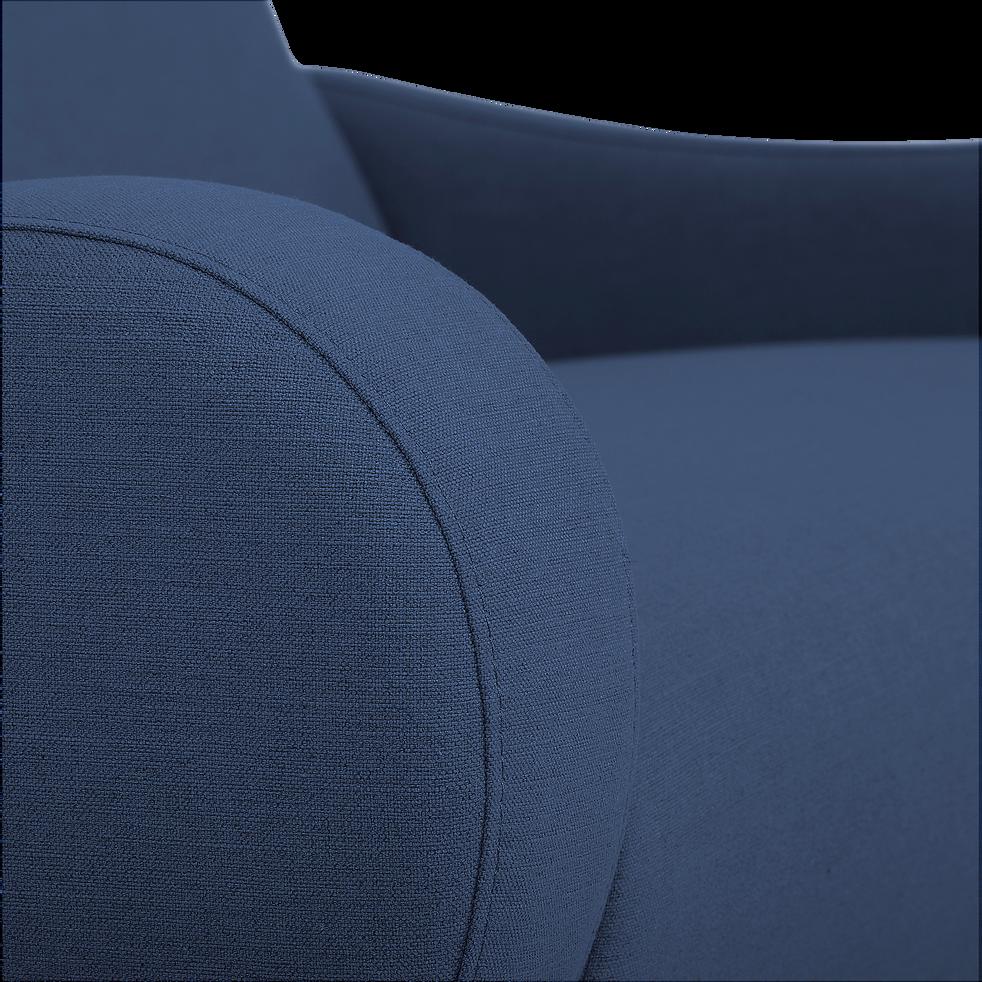Canapé 2 places fixe rétro en tissu bleu-BEAN