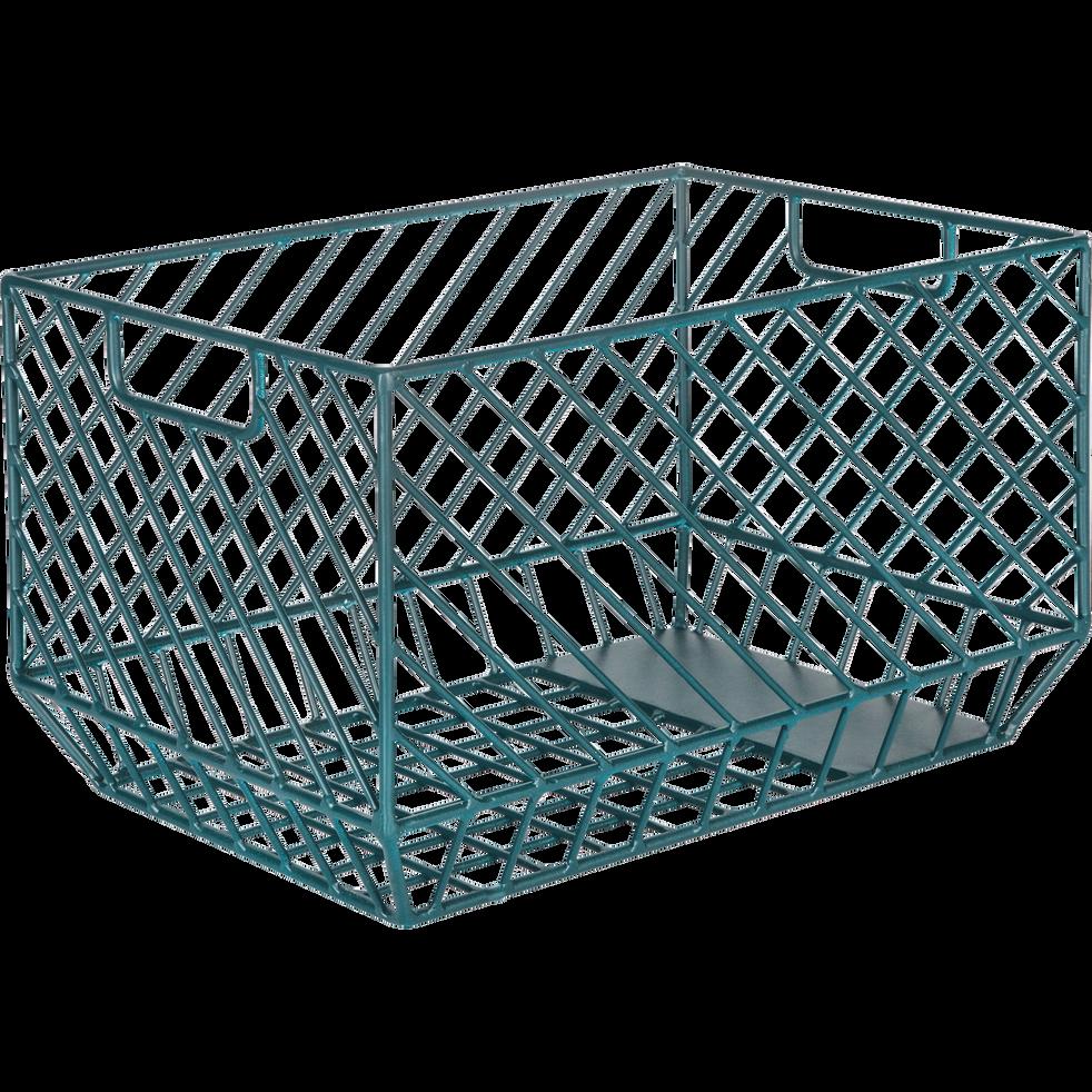 caisse de rangement en acier bleue l36xl26xh22cm tanis. Black Bedroom Furniture Sets. Home Design Ideas