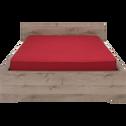 Lit 2 places avec tête de lit finition chêne cendré - 140x190 cm-Brooklyn