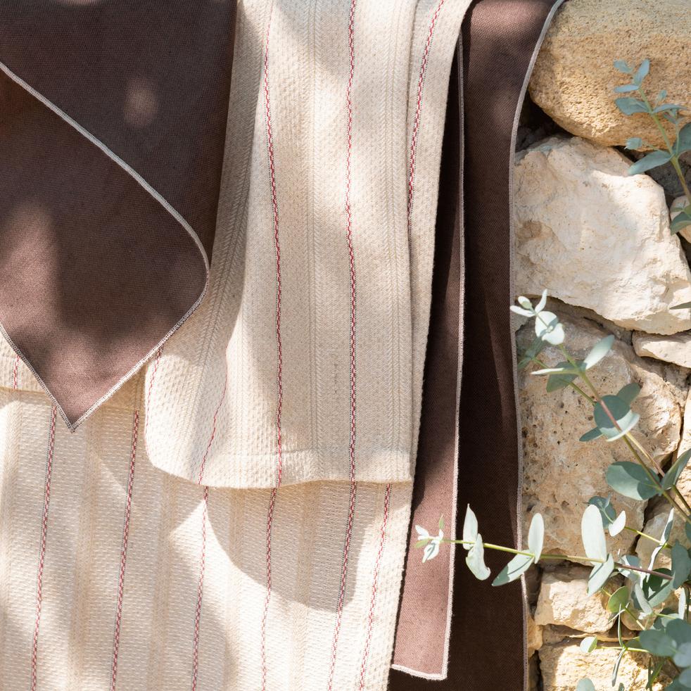 Chemin de table en lin et coton brun ombre 50x150cm-MILA