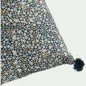 coussin liberty à pompon bleu 40x40 cm-SIGEAN