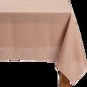 Nappe en lin et coton rose argile 170x170cm-MILA