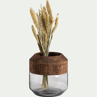 Vase en verre - marron D19,5x20,5cm-RUMENZU