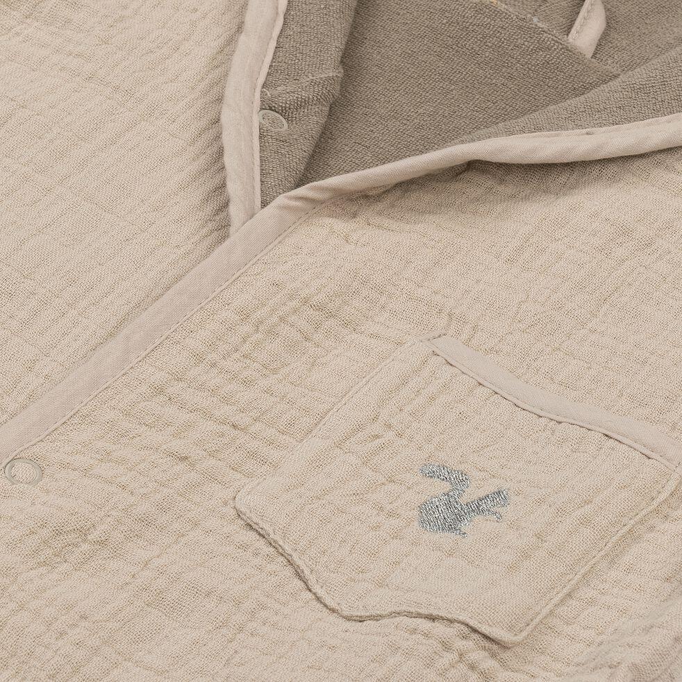 Peignoir enfant 2 à 4 ans en coton bio avec broderie lurex - beige alpilles-Nuage