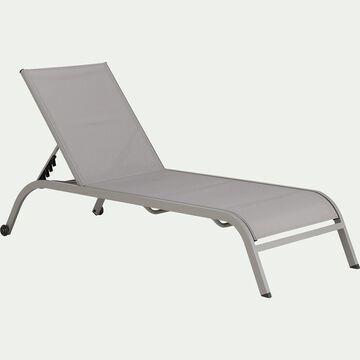 Bain de soleil en acier et textilène - gris vésuve-Hari
