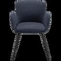 Chaise en tissu bleu figuerolles avec accoudoirs-SERIN