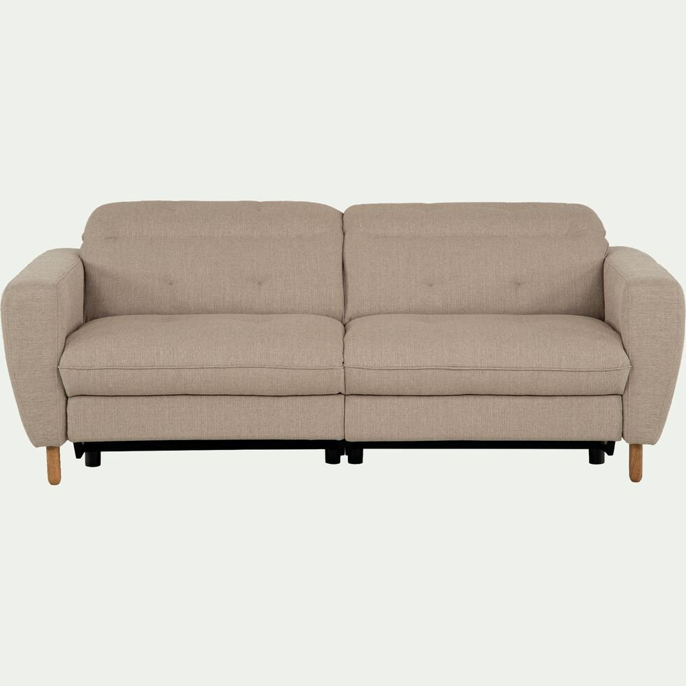 Canapé relax 3 places en tissu avec têtière réglable - beige-ODYS